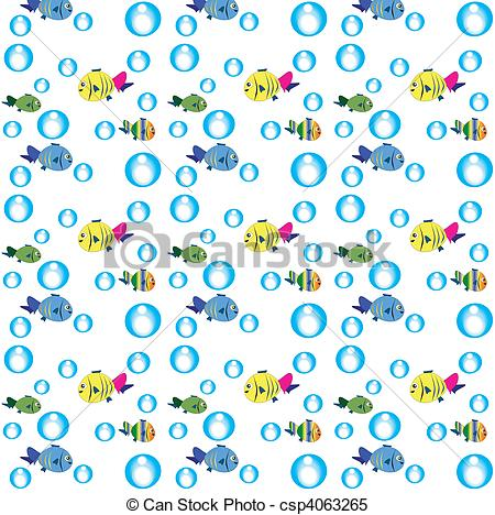 Clipart Vector of Sea texture with fish..