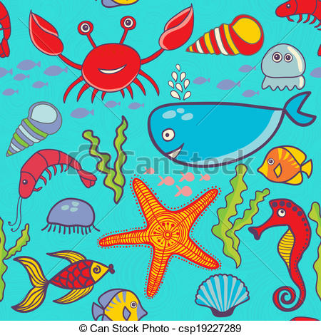 Vector of marine seamless pattern, endless texture of sea world.