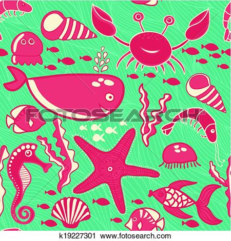 Clipart of marine seamless pattern, endless texture of sea world.
