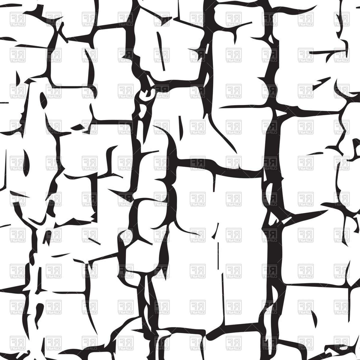 Cracked Desert Texture On White Background Vector Clipart.