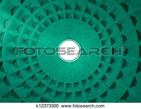 Stock Photography of Pantheon Dome ceiling pattern and hole, Rome.