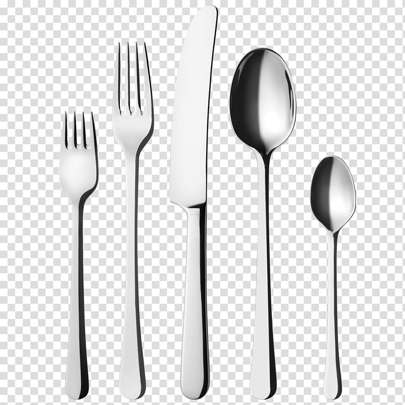 Gray stainless steel forks, knife, and spoons on focus.