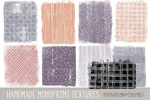 Monoprint Textures, Clipart. Brushes ~ Textures on Creative Market.