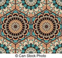 Clip Art Vector of Floral ornament, roof tiles and hex textures.