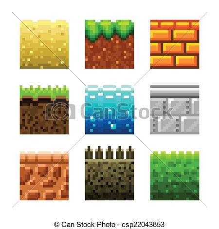 Clipart Vector of Textures for platformers pixel art vector set.