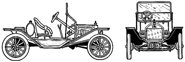 Ford Model T Car Speedster 1915 Coloring Pages: Ford Model T Car.