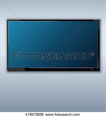 Clip Art of tft tv hanging on the wall background k19573858.