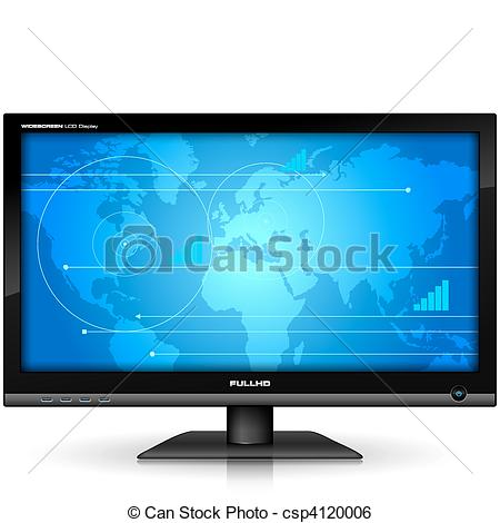 Clip Art Vector of Widescreen TFT display csp4120006.