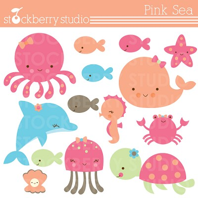 Pink Sea Clipart.