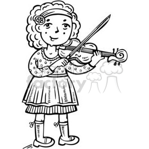 girl playing the violin clipart. Royalty.