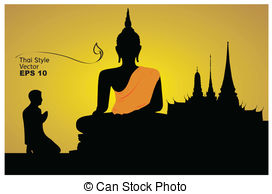 Vector Clipart of Silhouette of a Thai Buddha. illustrator EPS 10.