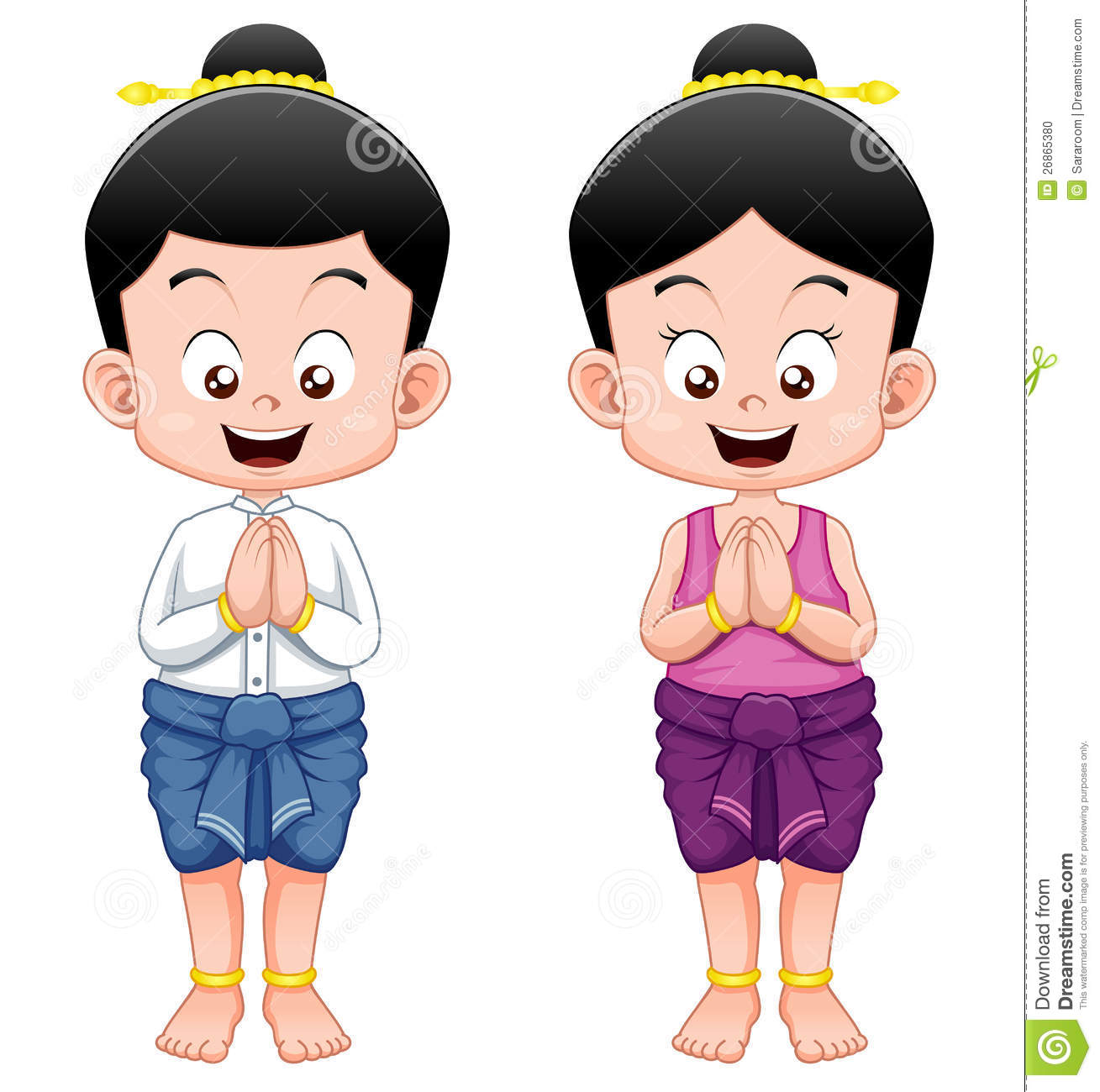 Cartoon Thai Kids In Traditional Costume And Sawasdee Stock Vector.