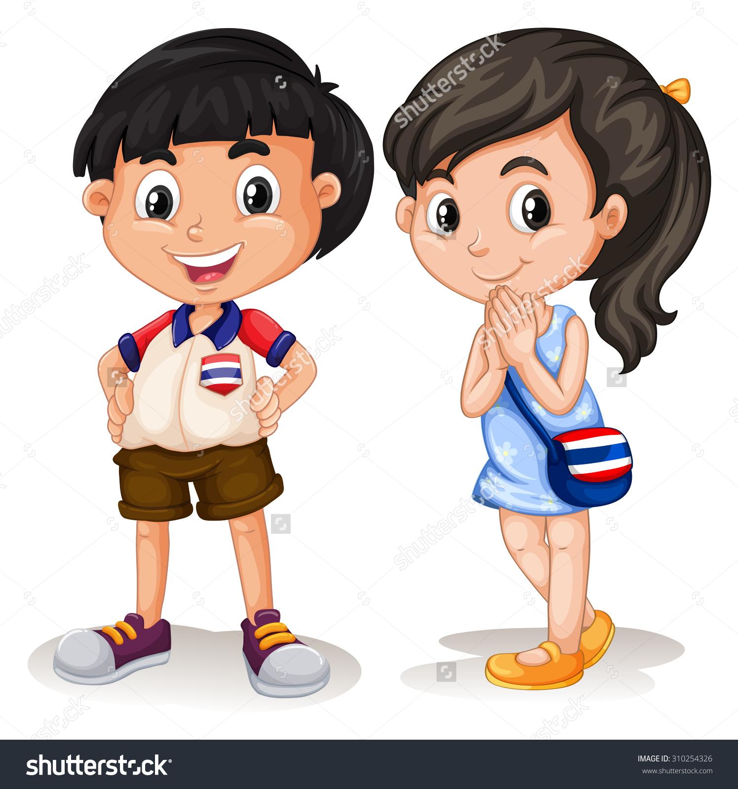 Thai Boy Girl Smiling Illustration Stock Vector 310254326.