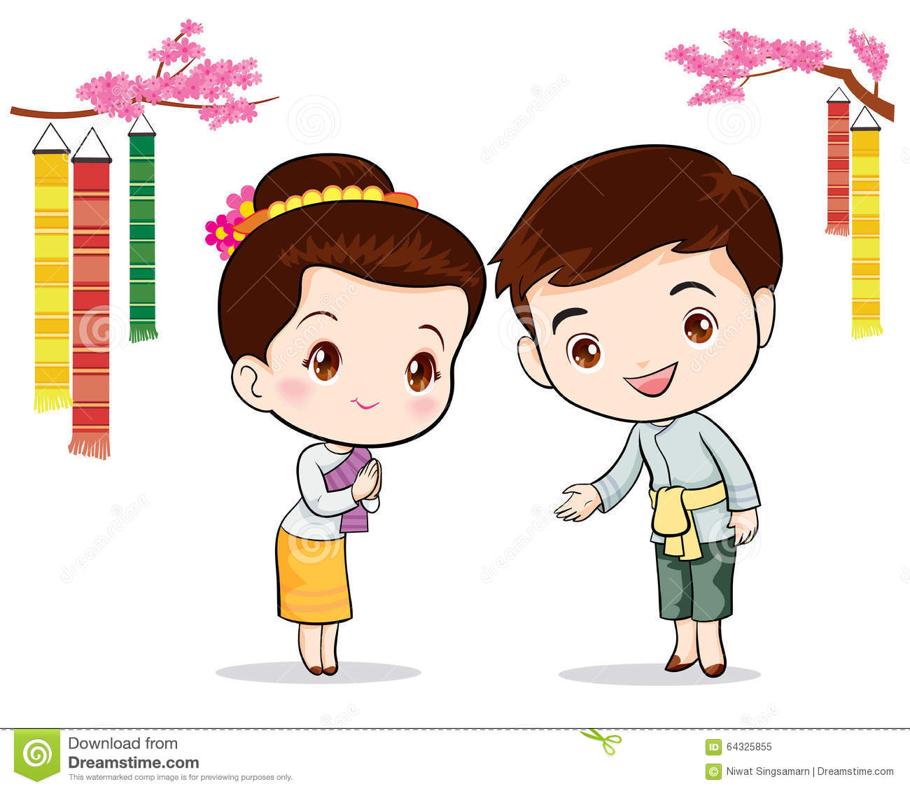 Thai Traditional Welcome Sawasdee Stock Vector.