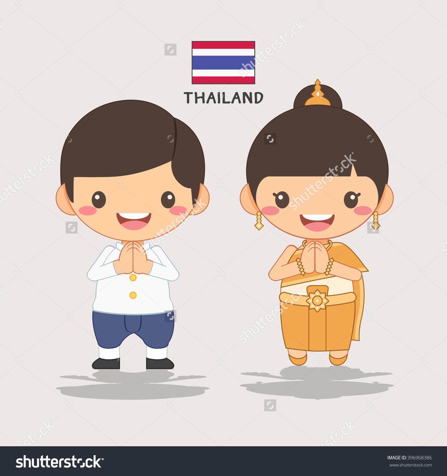 Thai Kids Welcome Stock Vector 396968386.
