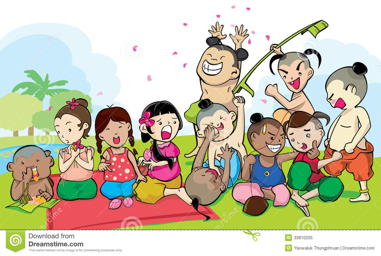 Kids Group Of Ancient Thailand Royalty Free Stock Photo.