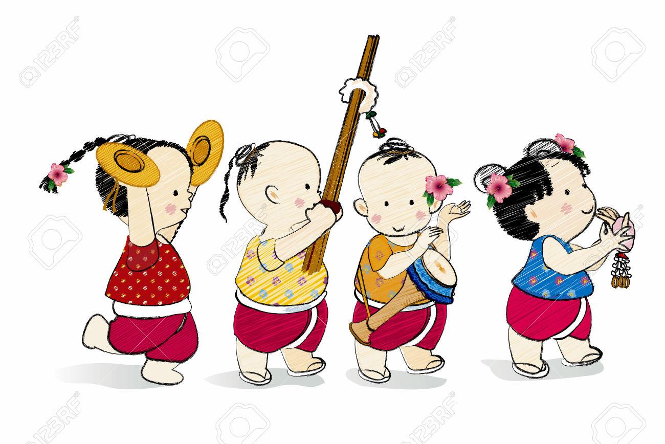 Cartoon Characters Thai Children,Thai Style Dance Royalty Free.
