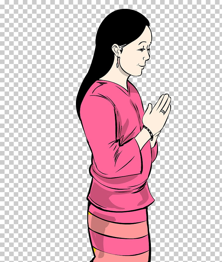 Thai greeting Woman Hug, thai PNG clipart.