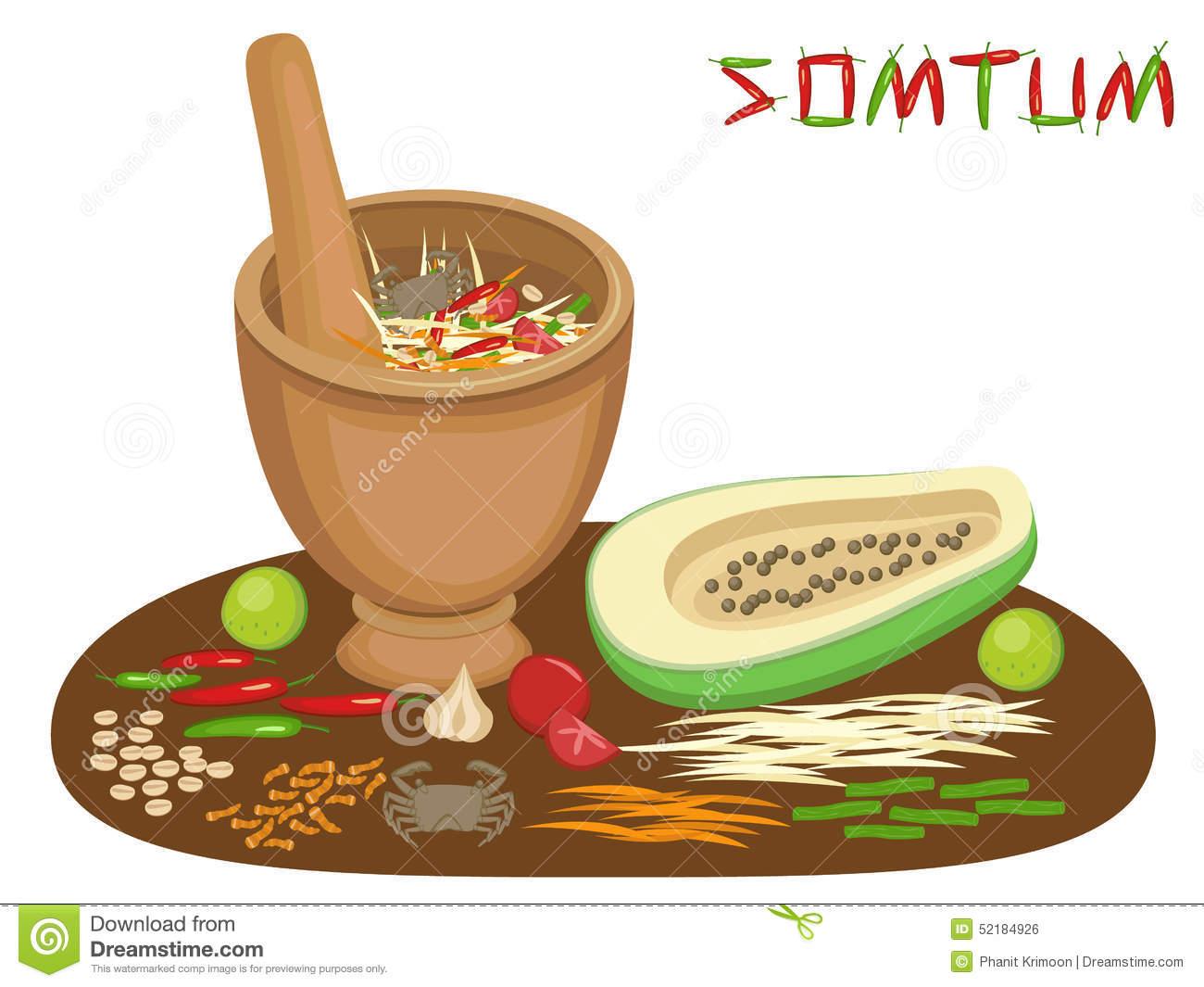 Thai Food Somtum Papaya Salad Stock Vector.