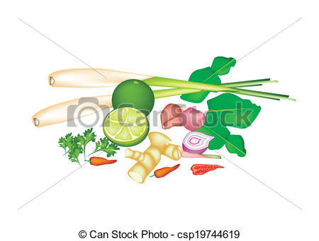 Vector Clip Art of A Stack of Thai Food or Thai Cuisine Ingredient.