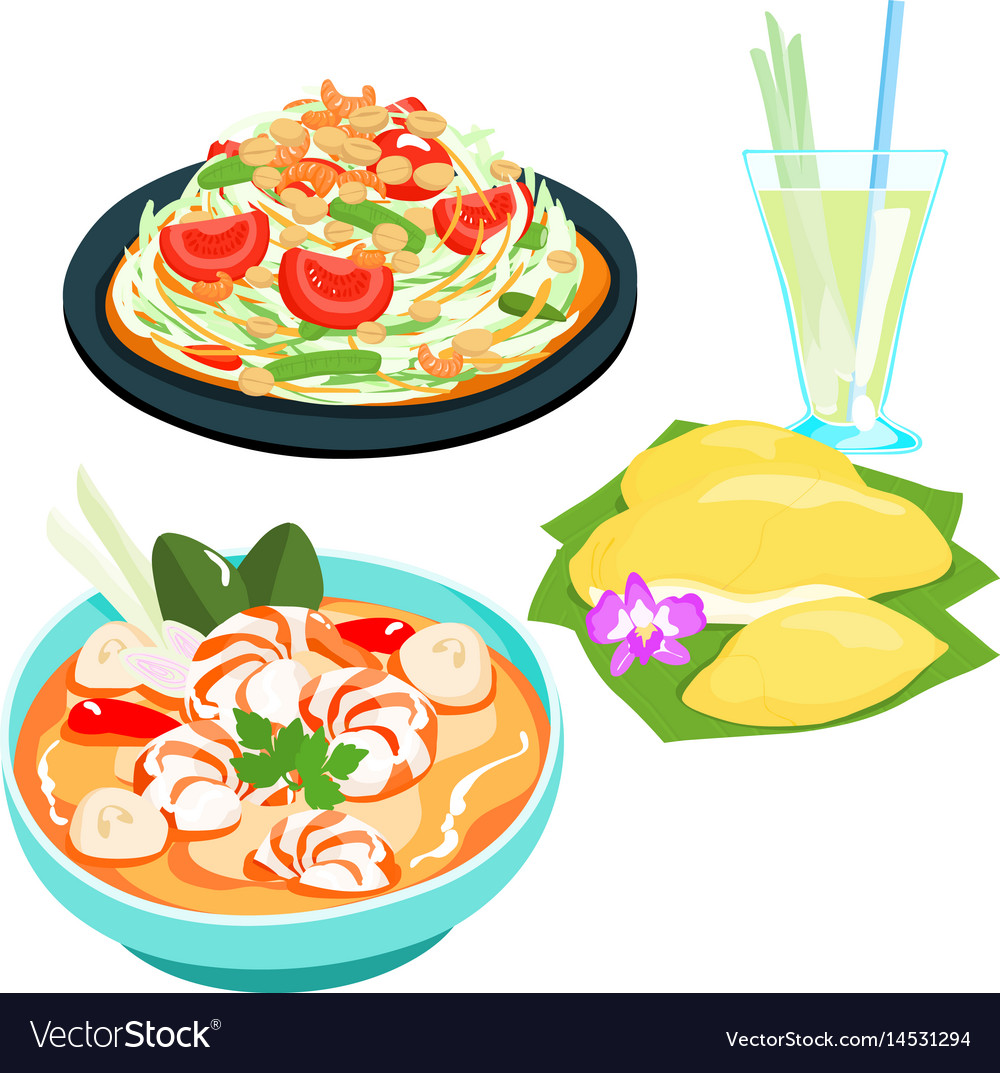 Popular thai food papaya salad set.