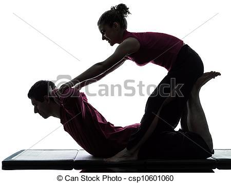 Stock Image of thai massage silhouette.