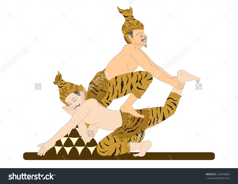 Thai Traditional Hermit Massage Body Exercise Stock Vector.