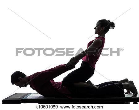Stock Photograph of thai massage silhouette k10601059.