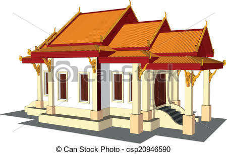 Clip Art Vector of Wat Thai. Temple in Thailand.