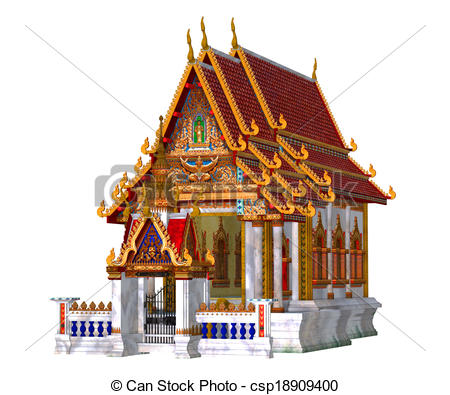 Thai Temple, isolated on the.