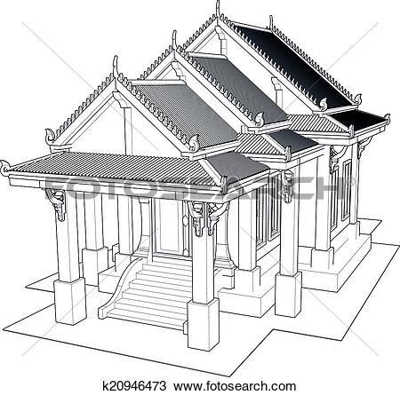 Clip Art of Wat Thai. Temple in Thailand k20946476.