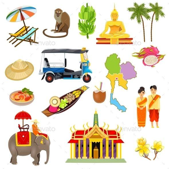 Thailand Icons Set.