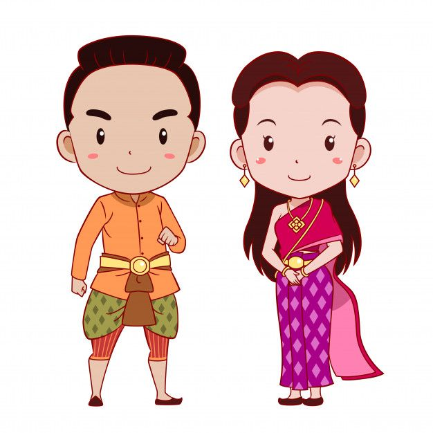 Cute couple of cartoon characters in Thai traditional.