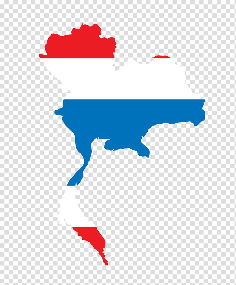 Flag of Thailand Euclidean Illustration, Map transparent.