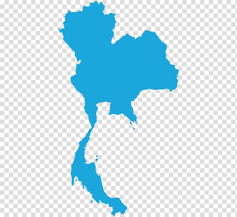 Blue map illustration, Thailand Map, Bangkok transparent.