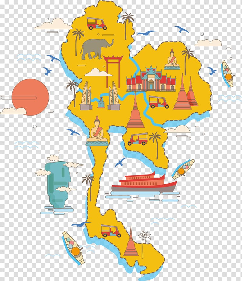 Yellow map illustration, Thailand Map Poster, Thailand.