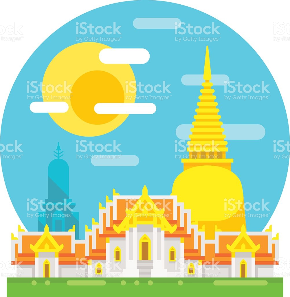 Thailand Temple Flat Design Landmark stock vector art 487942986.