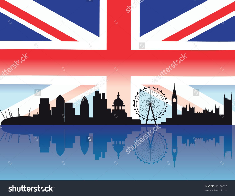 London Skyline Flag Reflection Buildings Thames Stock Vector.