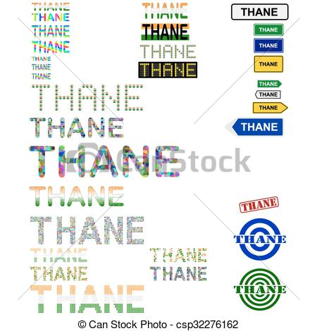 Clip Art Vector of Thane text design set.