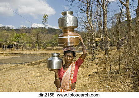 Pictures of Tribal woman carrying water pots on head and hand.
