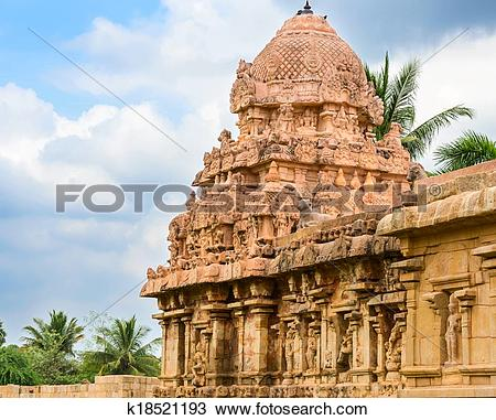 Stock Photo of part of the complex architecture of Hindu Temple.