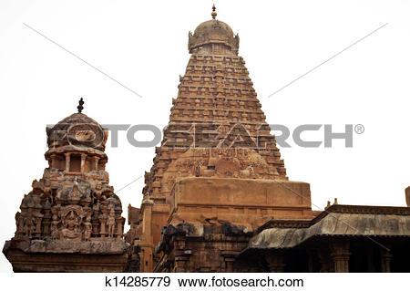 Stock Photograph of Brihadeeswarar Temple in Thanjavur, Tamil Nadu.