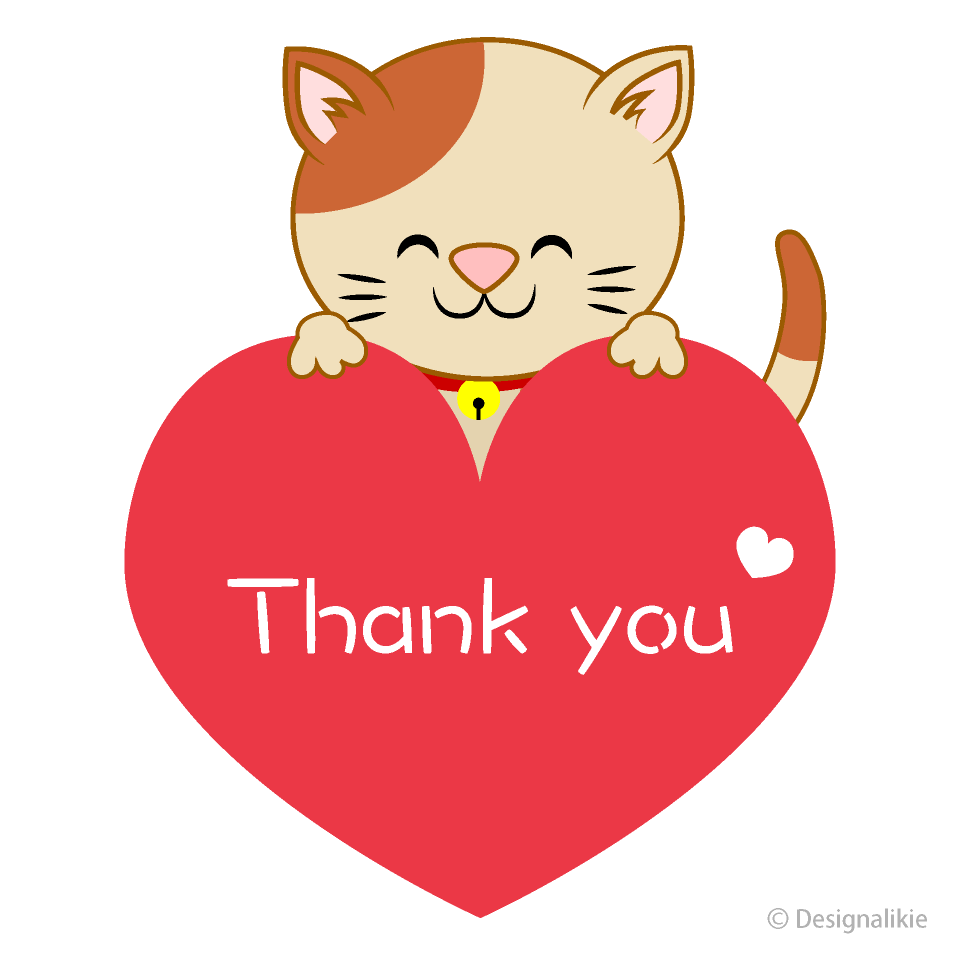 Free Cat Heart Thank You Clipart Image|Illustoon.