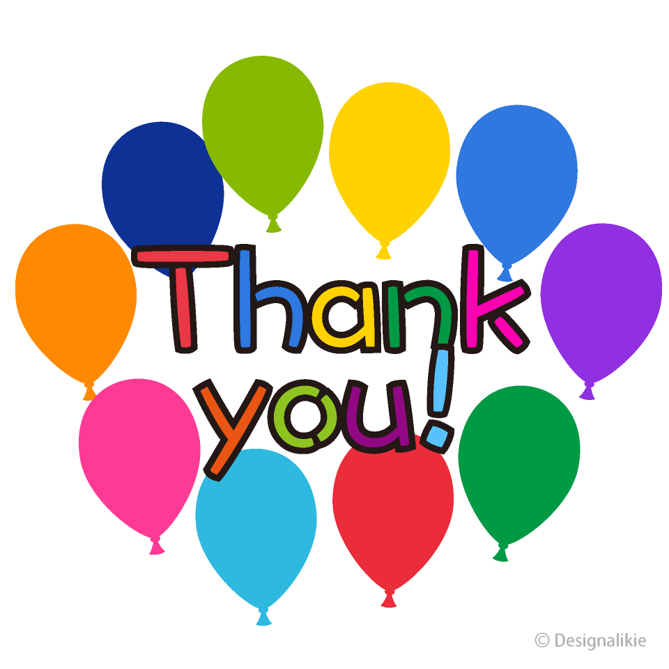 Free Colorful Balloons Thank You Clipart Image|Illustoon.