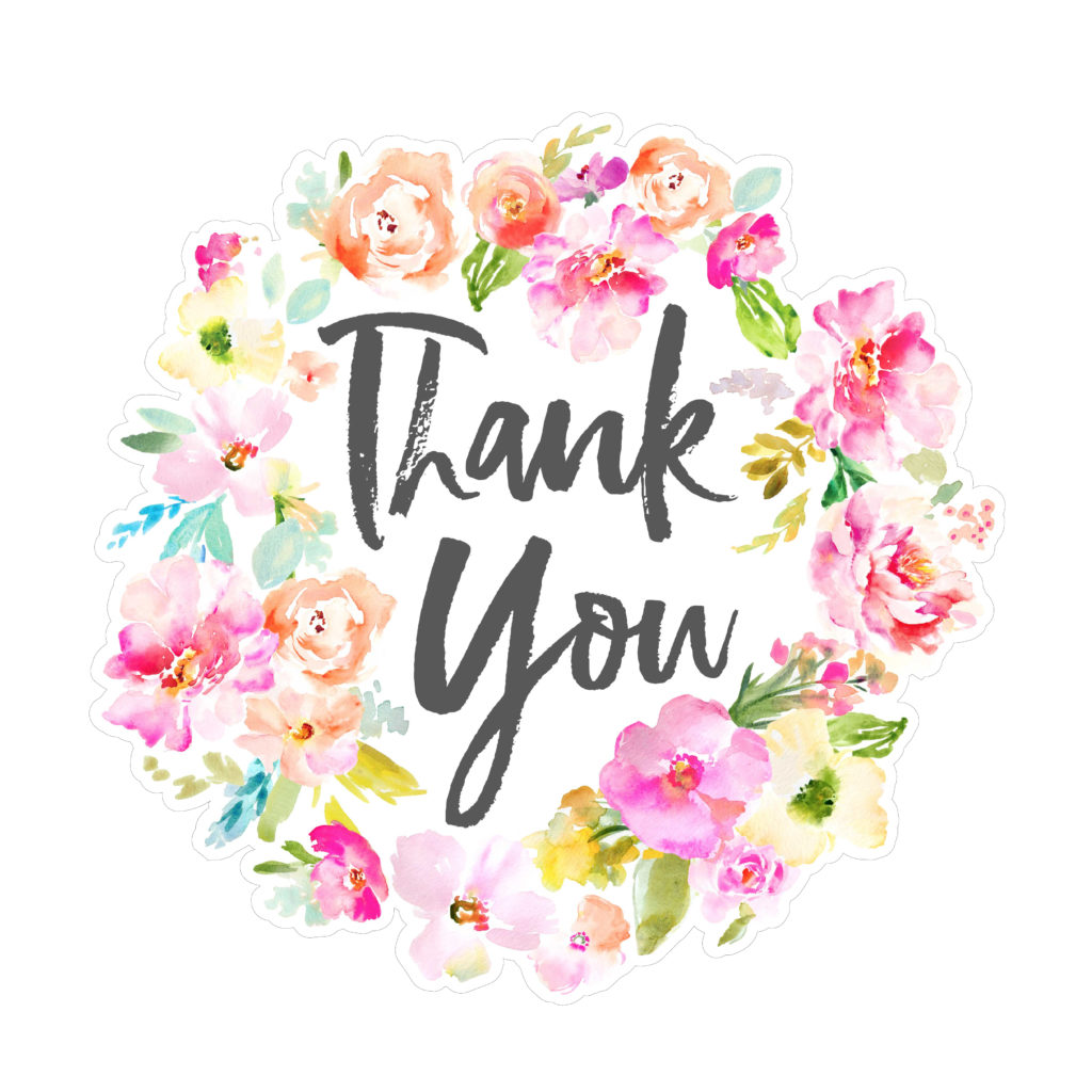 Thank You SVG File with Watercolor Flowers. Thank You SVG File Download..