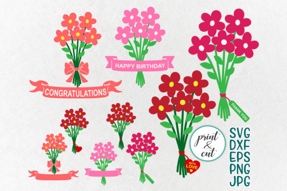 Flowers bouquet svg, bundle svg, happy birthday svg, thank you svg, clip  art, congratulations, png jpg dxf, ribbon heart tag.