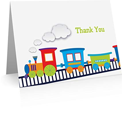 Choo Choo Train Thank You Cards with Envelopes.