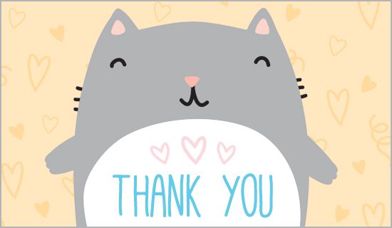 Cat Thank You Clipart.