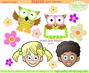 Kids Clipart {Owl Clipart} Spring Flowers FREE.