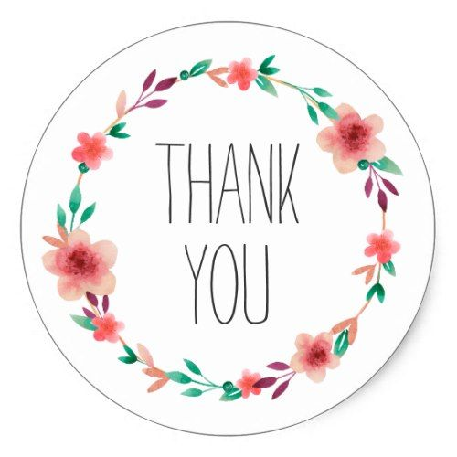 Floral Wedding Thank You Flower Wreath Favor Classic Round.